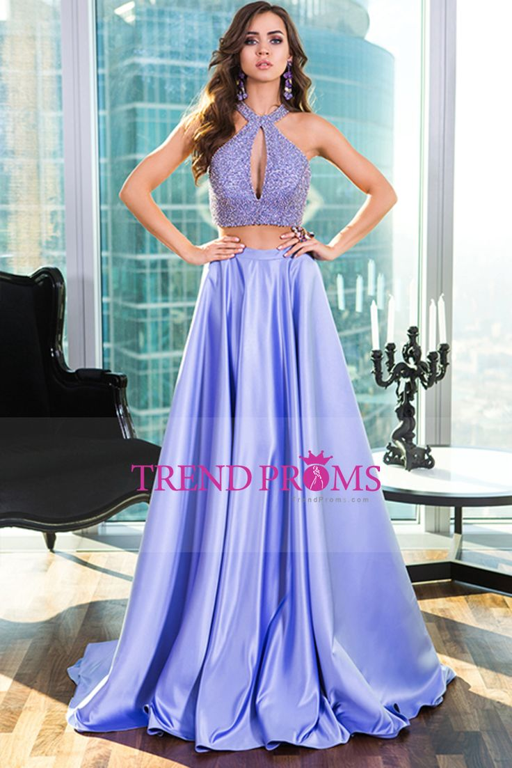 2016 Two Pieces Halter Prom Dresses A Line Elastic Satin With Beading