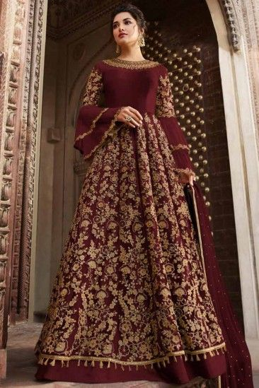 Buy Wine Color Net Anarkali Suit With Zari Work Online - LSTV03307
