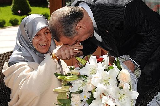 Recep Tayyip Erdogan and his mother.