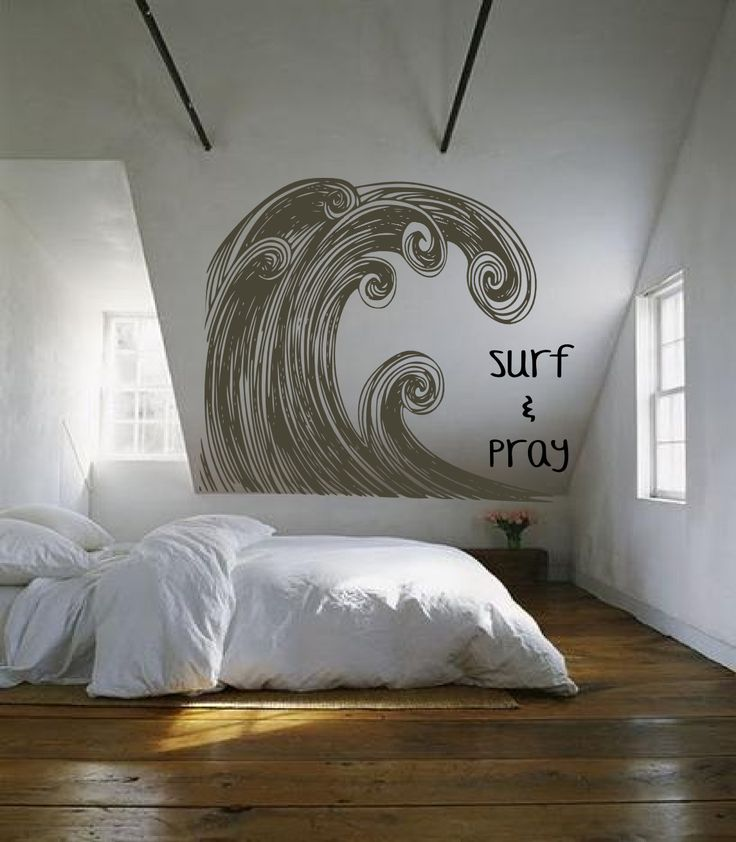 Huge Surf Ocean Wave Swirl Art - vintage inspired -- vinyl wall art decals graphic sticker by 3rdaveshore. $390.00, via Etsy.