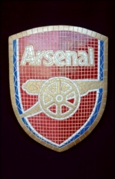Arsenal Mosaic Sign (JR 2661) Harder to read lettering with tan tiles and white grout