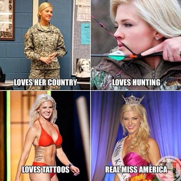 Everyone's loving on Miss Kansas, one of the Miss America contestants. What's not to like? Beautiful, strong soldier, marksman, speaks Chinese. Wow. BuzzFeed has even more reasons.