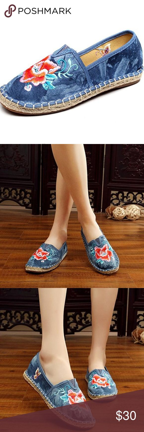 Embroidered Floral & Tie-Dye Espadrilles Women's Embroidered Floral Espadrilles Lightly used, only worn 2-3 times.  No box. Flat with Tie-dye Background Casual  Canvas Rubber non-skid sole Cotton-blend Easy On and Off Size: 9.5 Shoes Espadrilles