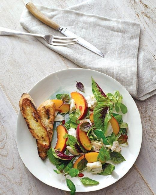 Peach and Crab Salad With Mesclun and Herbs Recipe
