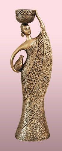 Faux Bronze Tea-Light - Woman-C