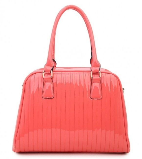 CORAL - Classic Cora Plain Patent Tote Handbag With Straight Lining Detail - The Handbag Hut