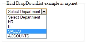 How to fill DropDownList from Sql server database in asp.net  http://www.webcodeexpert.com/2013/02/how-to-fill-dropdownlist-from-sql.html