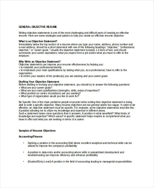 8 Objective Statement Resume Samples: 18 Sample Resume Objectives PDF DOC Free Premium Templates