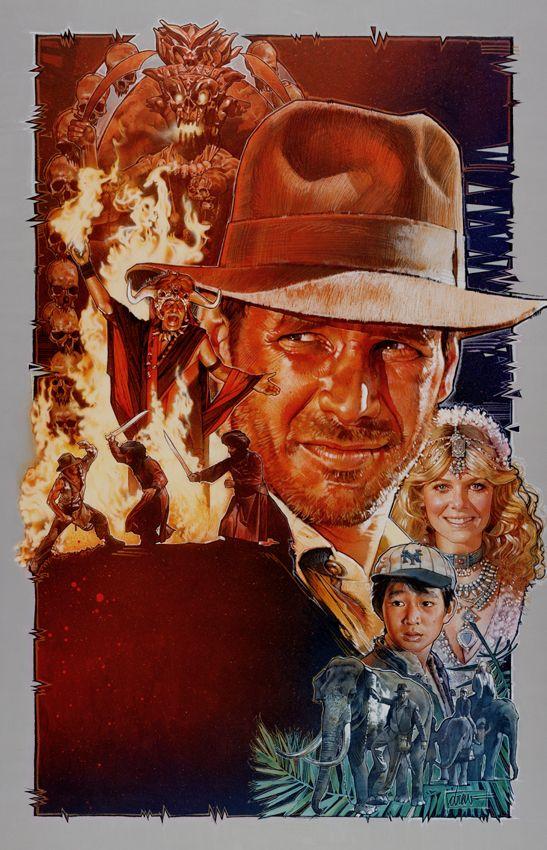 『インディー・ジョーンズ/魔宮の伝説』 (1984) 手掛けたインディー・ジョーンズ4部作のポスターのなかで、ストルーゼンはこの1枚が特にお気に入りだという。わたしもハリソン・フォードといえばいまでもまずこのイメージが頭に浮かぶ。IMAGE COURTESY OF DREW STRUZAN