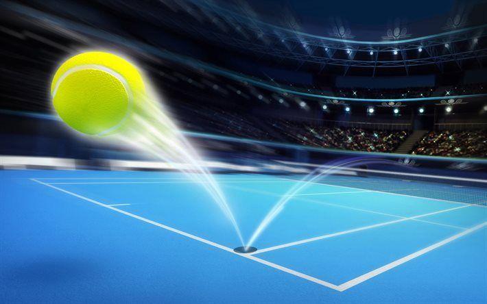 Télécharger fonds d'écran Tennis, bleu court de tennis, balle de tennis