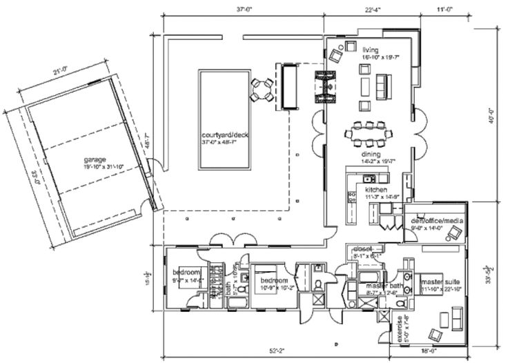 1000 images about floor plans on pinterest l shaped for L shaped ranch plans