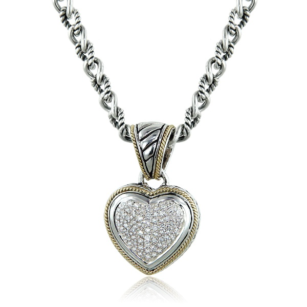 Effy Balissima Sterling Silver Yellow Gold Diamond Heart