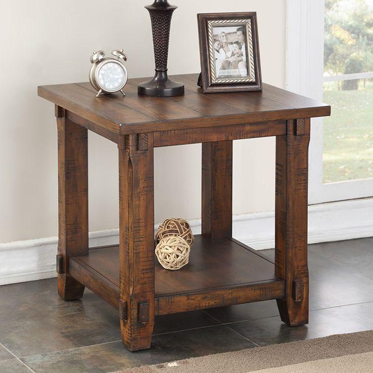 Legends Furniture Restoration End Table Distressed Rustic Walnut ZRST-4100 at Dynamic Home Decor