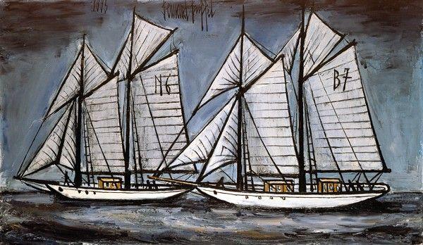 Bernard Buffet - Les goelettes Suzanne et Cicely en régates - 1995, oil on canvas - 114 x 195 cm