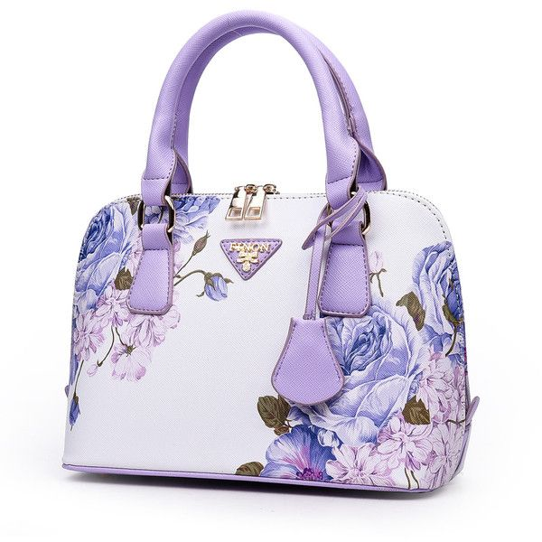 SheIn(sheinside) Floral Print Zipper Bag ($16) ❤ liked on Polyvore featuring bags, handbags, tote bags, floral purse, zippered tote bag, tote purses, purple tote bags and floral tote bag