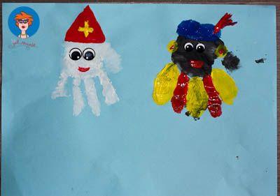Sinterklaas en Zwarte Piet handjes verven