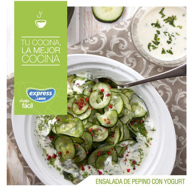 Ensalada de pepino con yogurt #Recetario #Receta #RecetarioExpress #Lider #Food #Foodporn #Salad #Pepino #Yogurt #Arabe #arabia