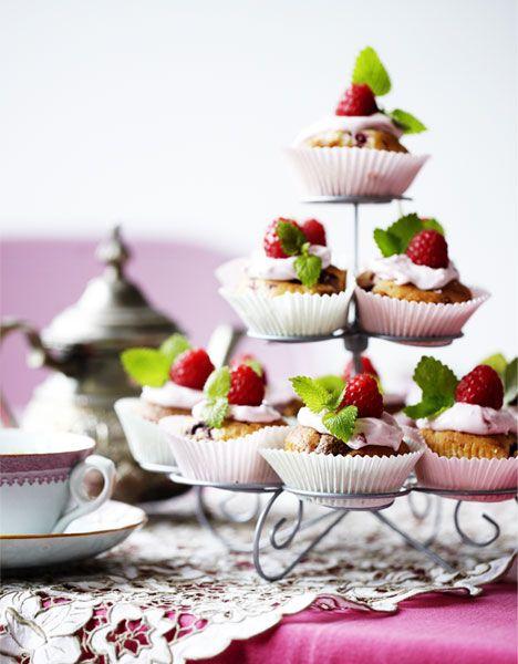 Hindbærmuffins med nougat