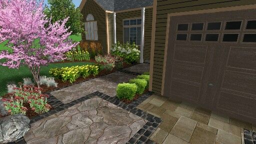 3d image of front entrance landscape design. Discoveryourretreat.ca for more cool designs and finished projects.