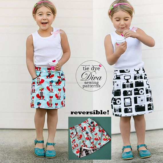 A great girls skirt pattern that is reversible too! We call it the Potato Chip Skirt … because you won't be able to stop at just one! Features include a flat front, elastic back, and inset pockets. Its quick sew and great stashbuster in unlined, lined, or reversible options. Pockets can showcase a contrast fabric or be accented with piping (full tutorial for attaching piping is included).*Embroidery pattern shown in second photo is not included. It is from Bumpkinhill here on etsy…