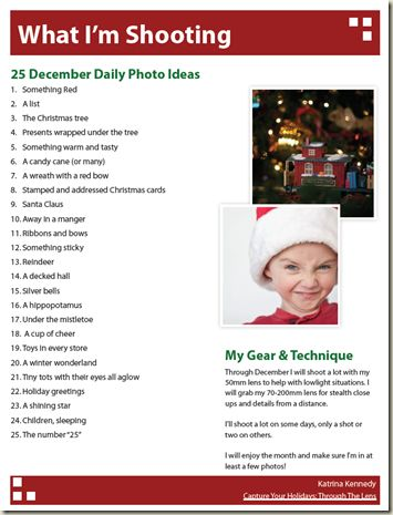 25 photos to take this December | Katrina Kennedy's ideas for December Daily shots