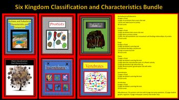 Six Kingdoms Classification and Characteristics Bundle includes classification and characteristics of archaebacteria, eubacteria, protists, fungi, plants and animals. Text, labs, worksheets, task cards, unit test, text organizer, newspaper activity and answer keys for all worksheets, tests, and task cards are included.93 pages of text, worksheets and labs.
