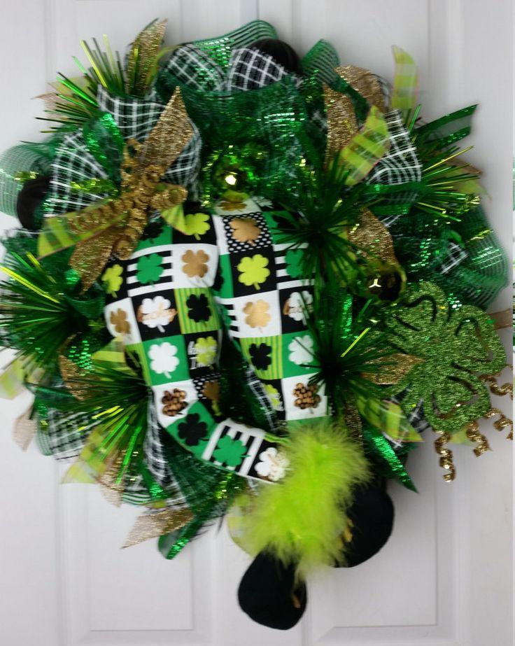 deco mesh st patrick 39 s day leprechaun wreath patrick o 39 brian deco mesh and deco. Black Bedroom Furniture Sets. Home Design Ideas