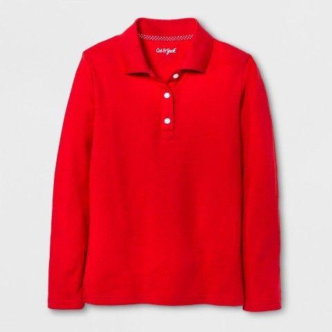 Cat & Jack Girls' Long Sleeve Polo Shirt Wowzer Red