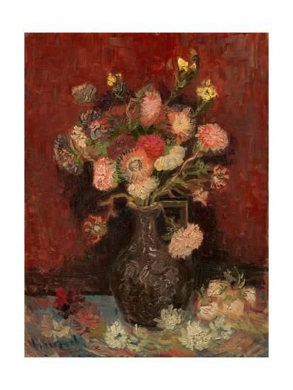 Vase with Chinese Asters and Gladioli Giclee Print by Vincent van Gogh at Art.com