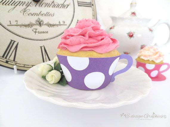 MAD HATTER Tea Cup Printable Cupcake Wrappers - Tea Party Big Bold Polka Dot Design DIY  (Choose your colours)