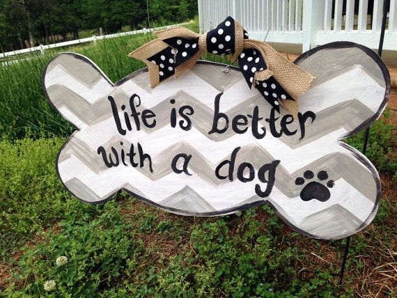 Dog Lovers Door Hanger- Life is better with a dog- I love my dog decor- Dog Lover Art- Door Art- Wooden Door Sign-Animal Lover Decor Chevron on Etsy, $40.00