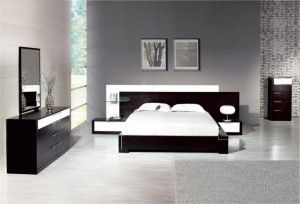 inspiring-sophisticated-black-and-white-bedroom-interiors-also-grey-rug-on-laminate-floor-plus-wall-mounted-nightstand-design