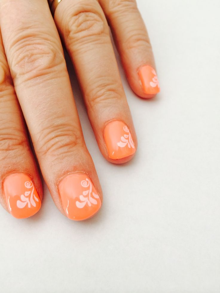 Coral konad stamped vacation nails by s.doherty