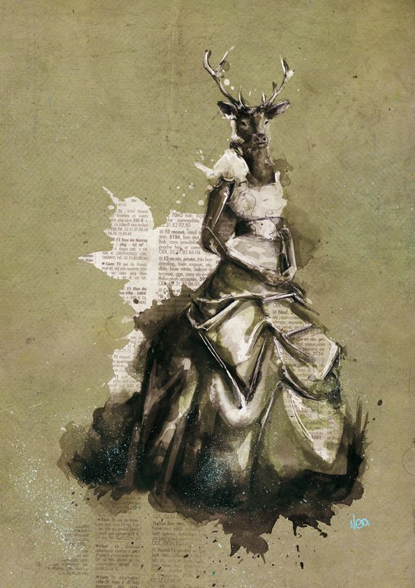 illustrator Florian Nicolle. ink, paper, paint and some subtle Photoshop editing.
