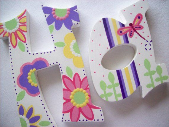 Custom Hand Painted Decorative Wooden Wall Letters by PoshDots