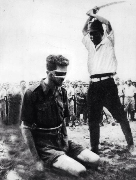 Leonard Siffleet, captured Australian commando who fought in WWII,  moments prior to being beheaded by a member of the Imperial Japanese Navy. 1943