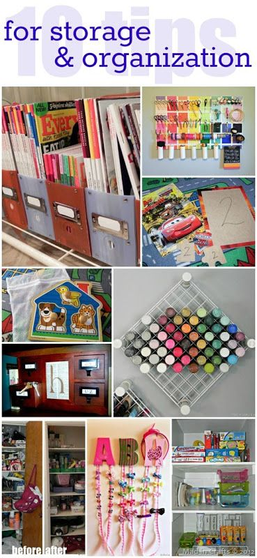 10 DIY Storage and Organization Tips - Mad in Craft: pinning for that picture of the wire cube hung on wall to hold paint.
