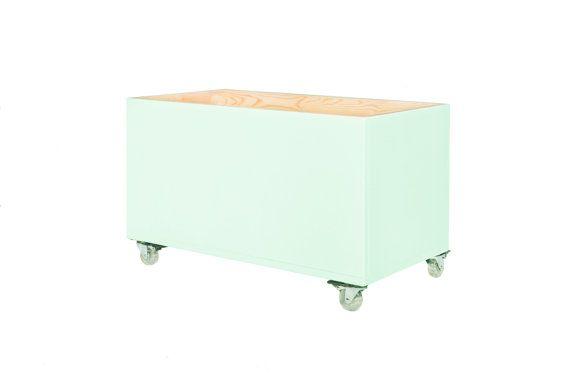 Big mint wooden toybox on casters. Toy bin toy storage by NOBOBOBO