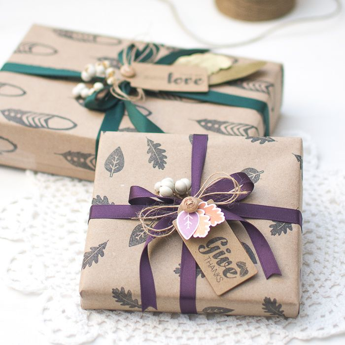 DIY Gift Wrapping Ideas using stamps and embellishments