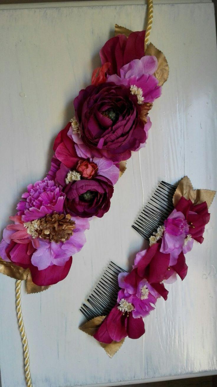 Cinturón de flores y peineta de flores. Moño floral. invitada perfecta tocados personalizados invitadas Miss Daisy