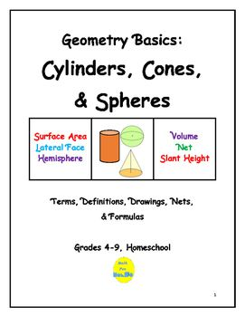 This 9-page document contains vocabulary terms introduced in elementary and middle school pertaining to cylinders, cones, spheres and hemispheres.  Drawings, definitions, symbols, formulas and nets are included.  This material has been used as a mini-course and as summer school enrichment material.