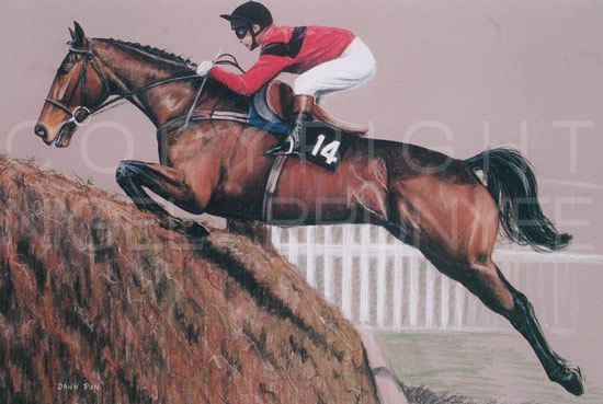 'Desert Orchid' Nigel Brunyee Horse Racing Print | #463148807