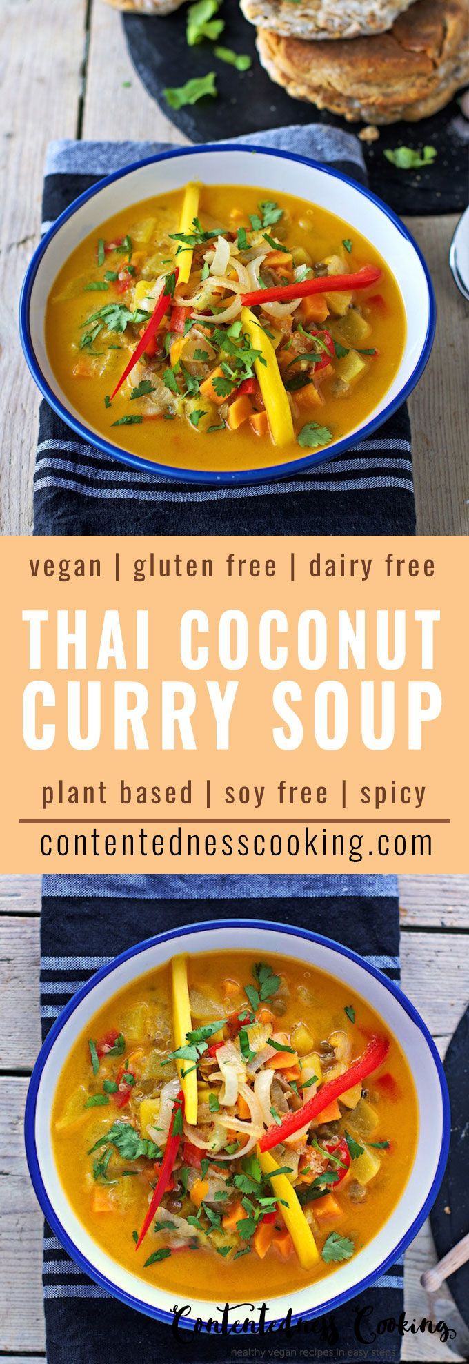 This Vegan Thai Coconut Soup comes with an easy Naan bread recipe. Both recipes are vegan and gluten free. Mango and coconut give this soup a tropical twist while quinoa and lentils add protein and heartiness. #vegan #plantbased #dairyfree #curry
