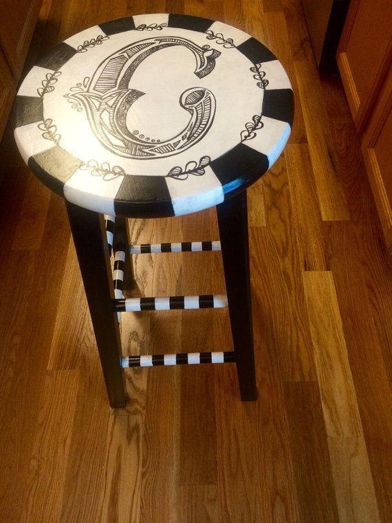Customized hand-painted stool by Craftimatis on Etsy