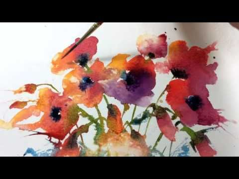 Loose Wet into Wet Watercolours with Andrew Geeson 'Purple Blast' - YouTube