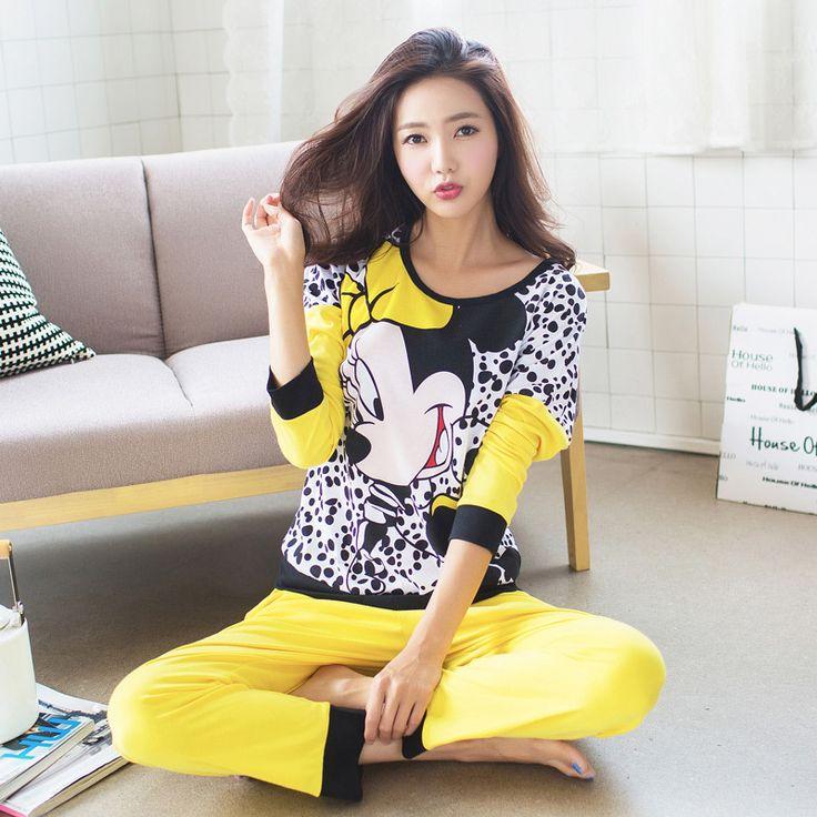 Comercio al por mayor de Invierno Primavera Mujeres Pijamas Animal de la Historieta Imprimir Rayón Conjuntos de Pijamas de Algodón de Manga Larga de Corea ropa de Noche Floja M-XL