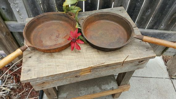 Set of 2 9 and 10 inch  Cast Iron Skillets Krischer Saucepan Repurpose Farmhouse Antiques Vintage Home Decor Wall Decor Camping Gear