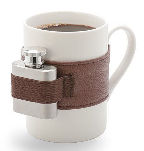 Generous sized coffee mug equipped with stainless steel shot flask in a deluxe leatherette belt. (Removable).
