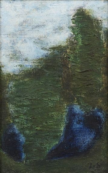 Josef Sima - Landscape; Creation Date: 1956 | oil on canvas, 22 X 14.5 cm