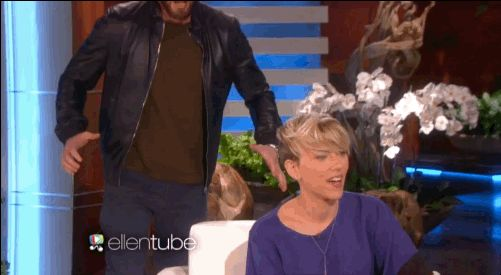 "And scared the crap out of Scarlett. | Chris Evans Scared The Crap Out Of Scarlett Johansson On ""Ellen"""
